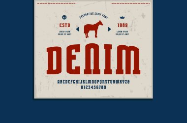 Stock vector narrow slab serif font and denim label template. Letters and numbers for logo design
