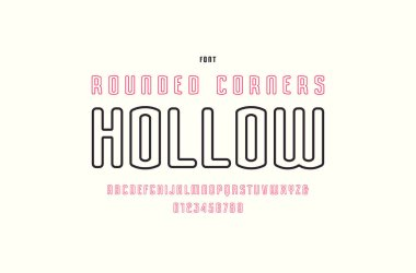Hollow sans serif font with rounded corners