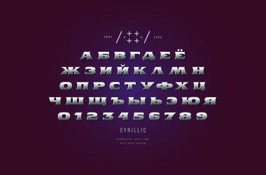 Metal chrome cyrillic extended serif font