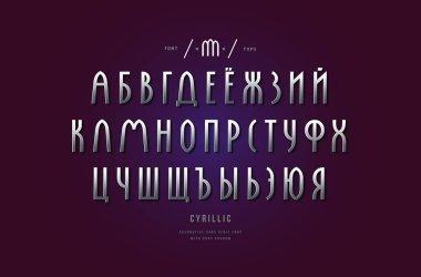 Silver colored and metal chrome cyrillic narrow sans serif font