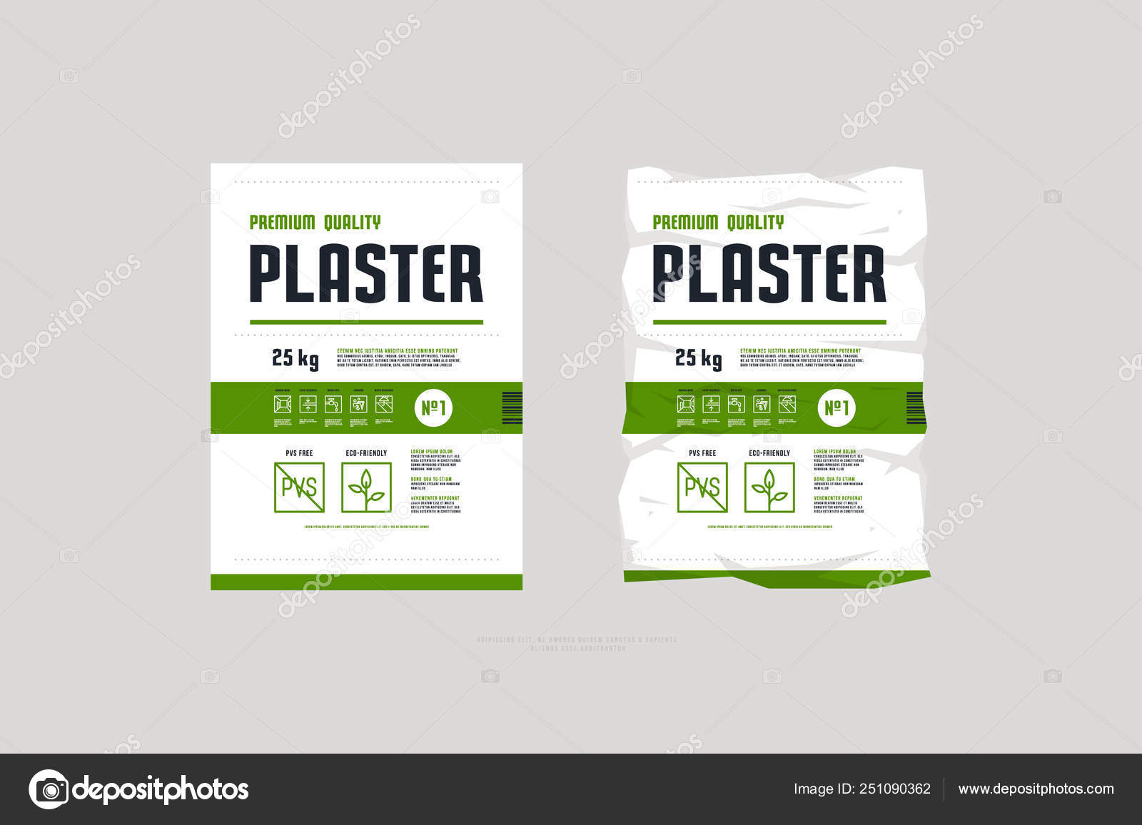 Template label for interior plaster packaging — Stock Vector