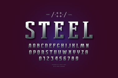 Silver colored and metal chrome serif font