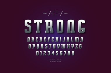 Silver colored and metal chrome narrow slab serif font