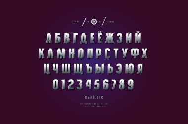 Silver colored and metal chrome cyrillic sans serif font