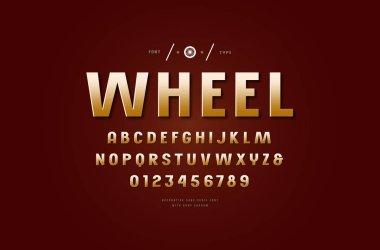 Stock vector golden colored sans serif font