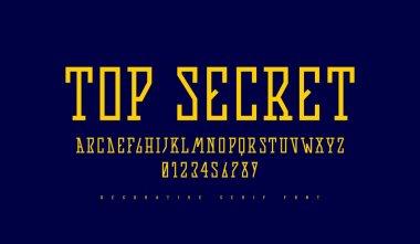 Stock vector narrow slab serif font in futuristic style