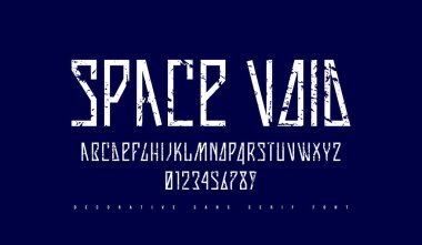 Stock vector narrow sans serif font in futuristic style