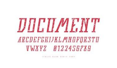 Stock vector italic narrow slab serif font