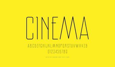 Stock vector narrow sans serif font
