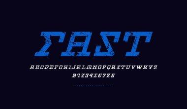 Stock vector italic slab serif font