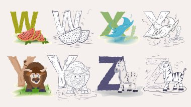 set of 5, isolated icons, English alphabet, for learning the alphabet, color flat and contour doodles