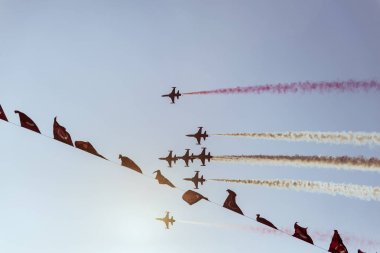 Izmir, Turkey - September 9, 2018. Solo Turk performs an Air Show over Izmir Sky on the day of Independence Izmir.