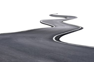 S shaped isolated new road background with clipping path.