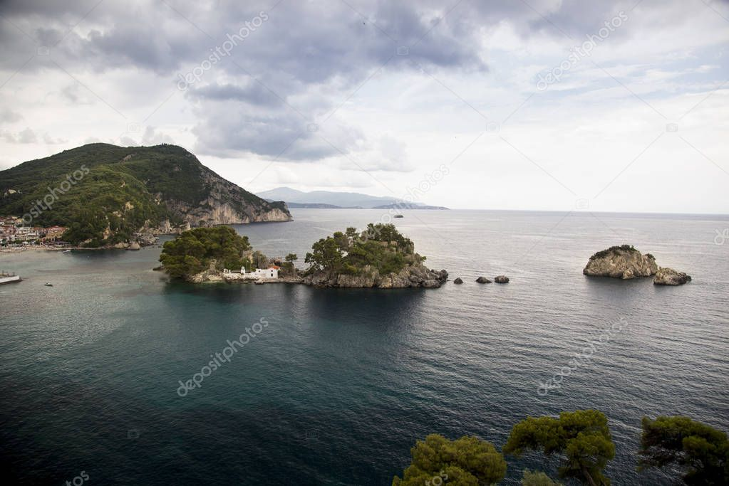 Rocks in the sea at Parga Greece.