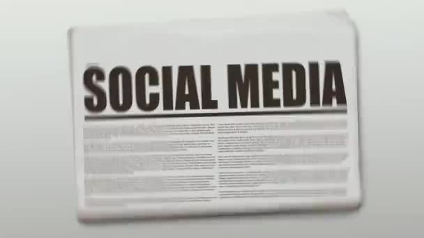 Rotating newspaper animation with a text which is Social Media.
