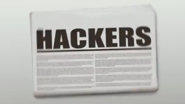 Rotating newspaper animation with a text which is Hackers.