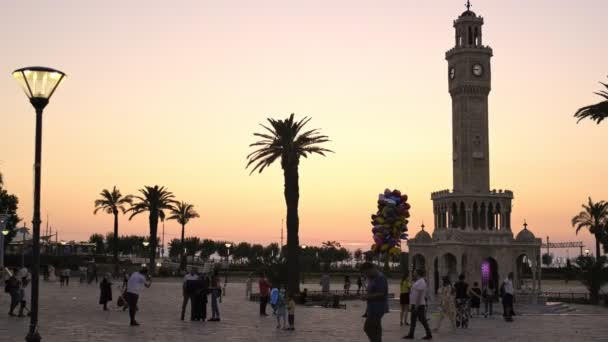 Izmir, Turkey - July 4, 2020. Izmir Konak Square view on sunset and with crowded people.