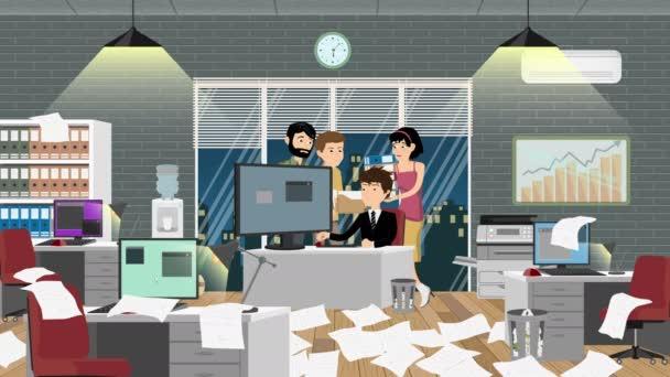 Toto kreslené video ukazuje manažera kanceláře a některé kancelářské pracovníky, kteří dělají svou práci