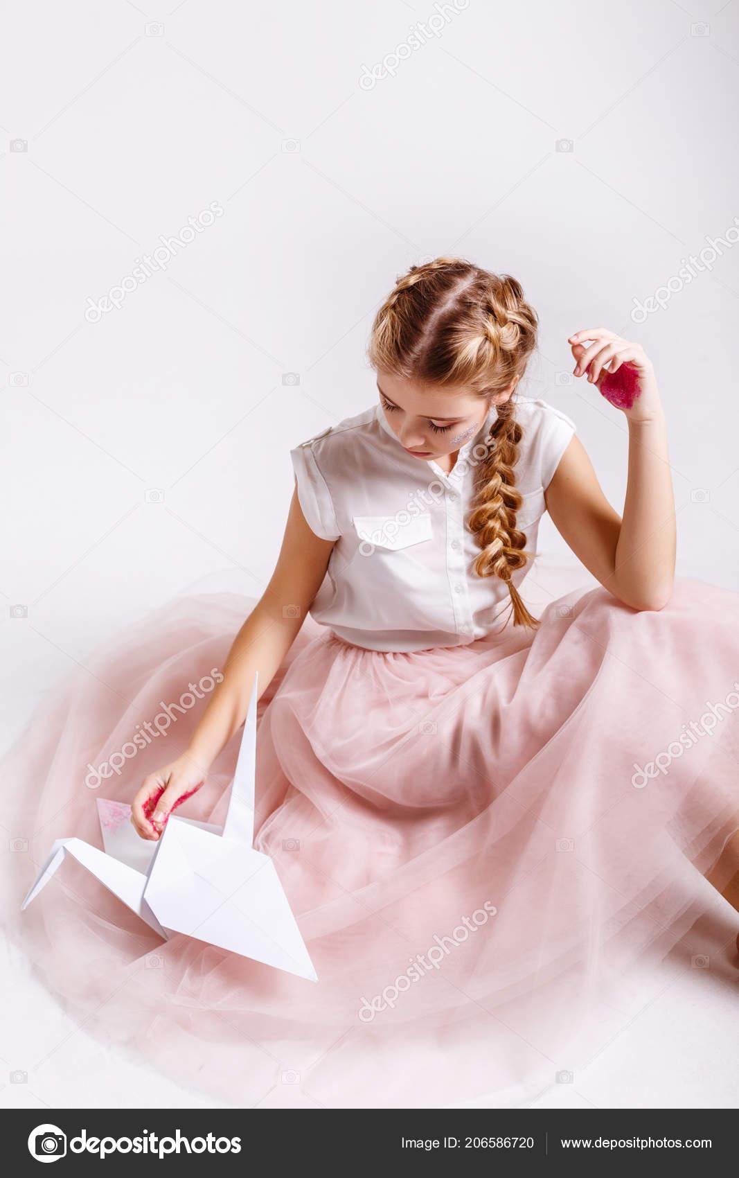 Charming Teenager Girl Studio Makeup Glitter Origami