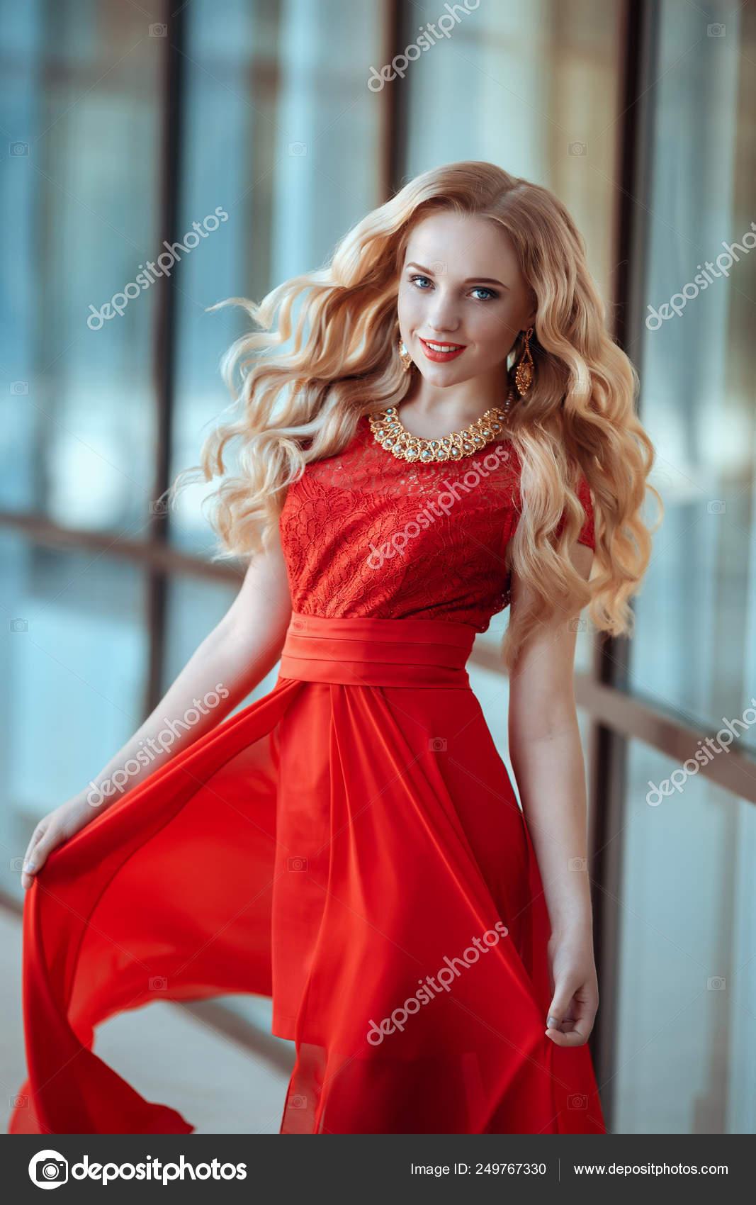 Portrait Of Stylish Beautiful Girl Wearing Short Red Dress Posing Or Walking At The Street Stock Photo C Selenittt 249767330