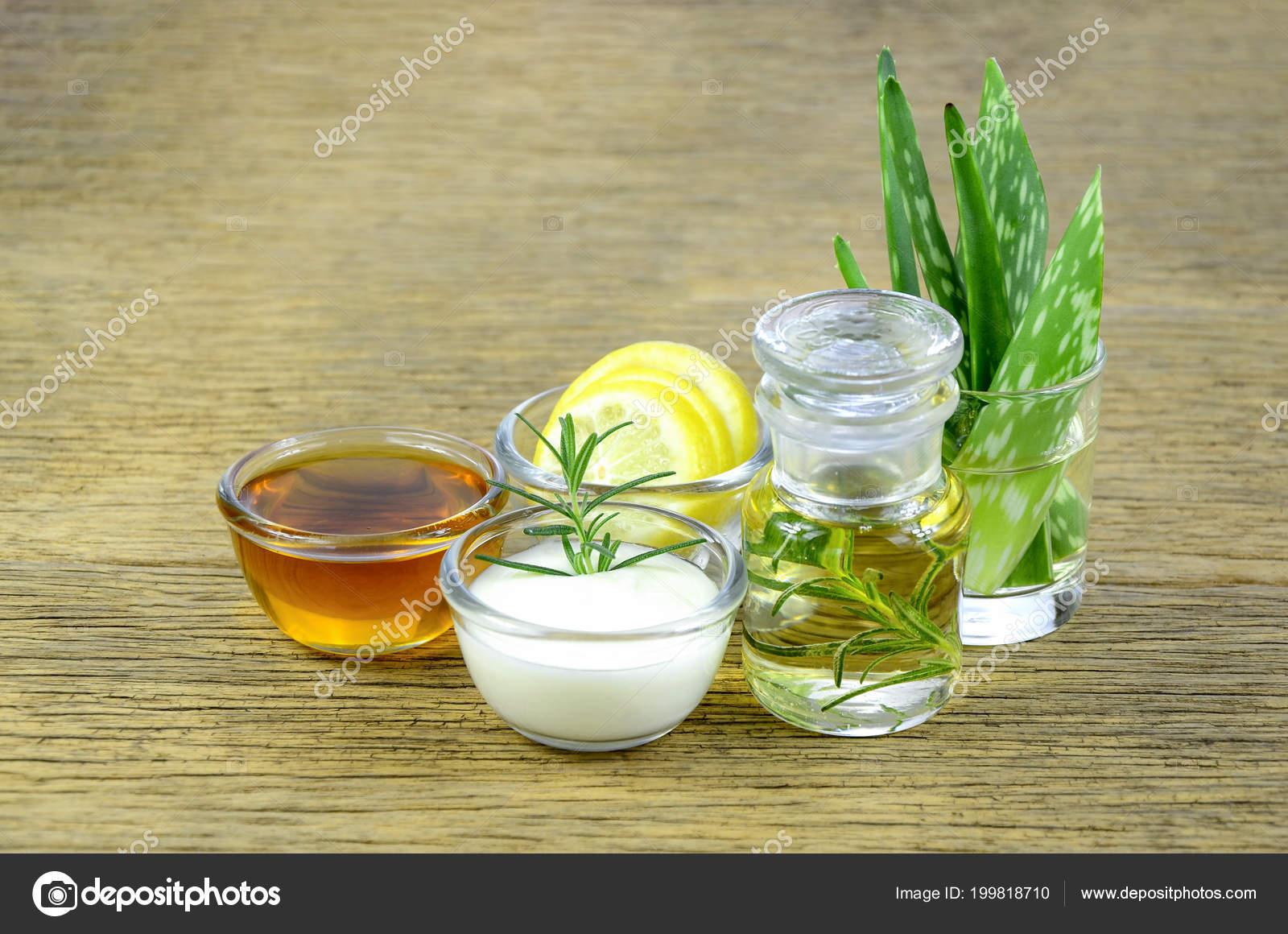 Honey Lemon Rosemary Leaves Greek Yogurt Aloe Vera Leaves Essential Stock Photo C Areeya 199818710