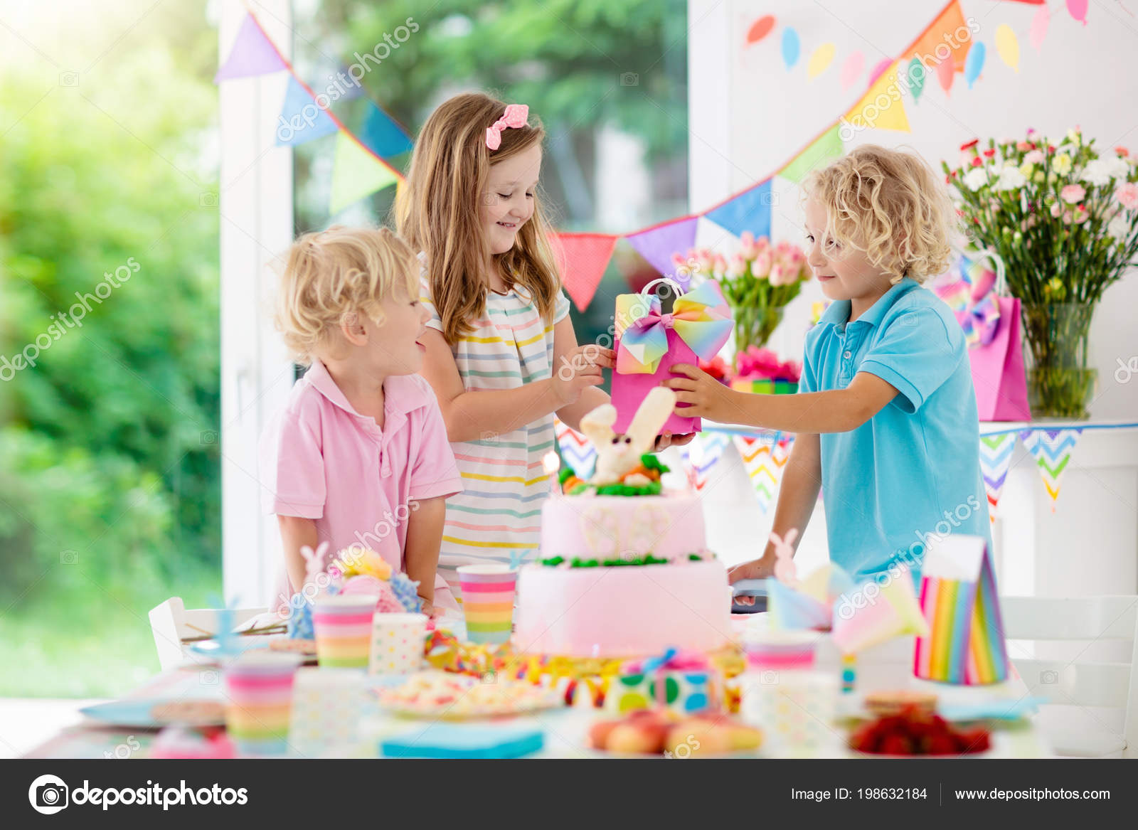 Kids Birthday Party Children Blow Out Candles Pink Bunny Cake Stock Photo Image By C Famveldman 198632184
