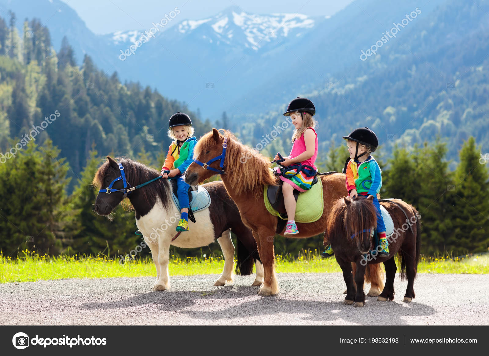Kids Riding Pony In The Alps Mountains Family Spring Vacation On Horse Ranch Austria Tirol Children Ride Horses Kid Taking Care Of Animal