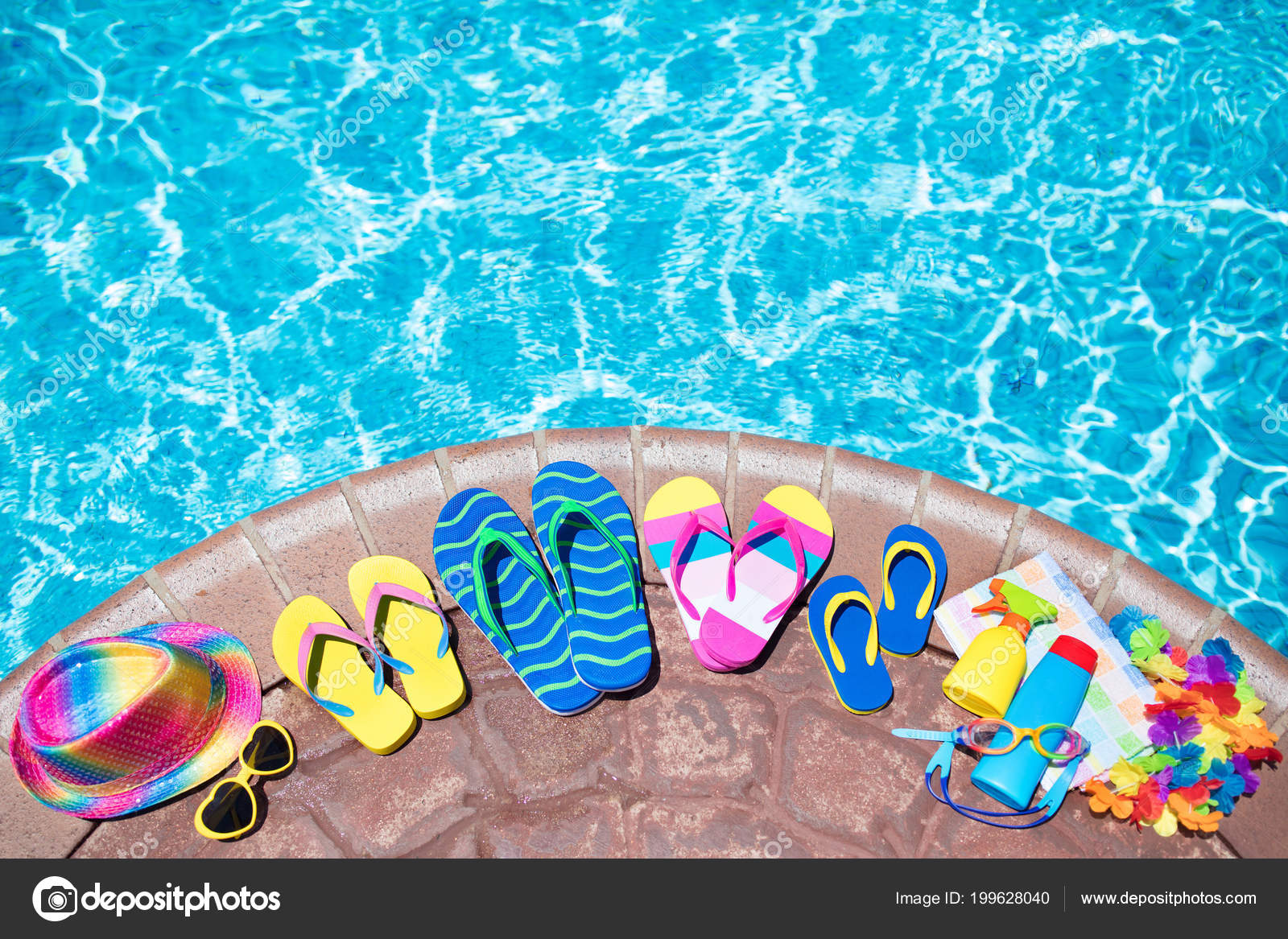 Swimming Pool Accessories Flat Lay Top View Beach Items Pool ...