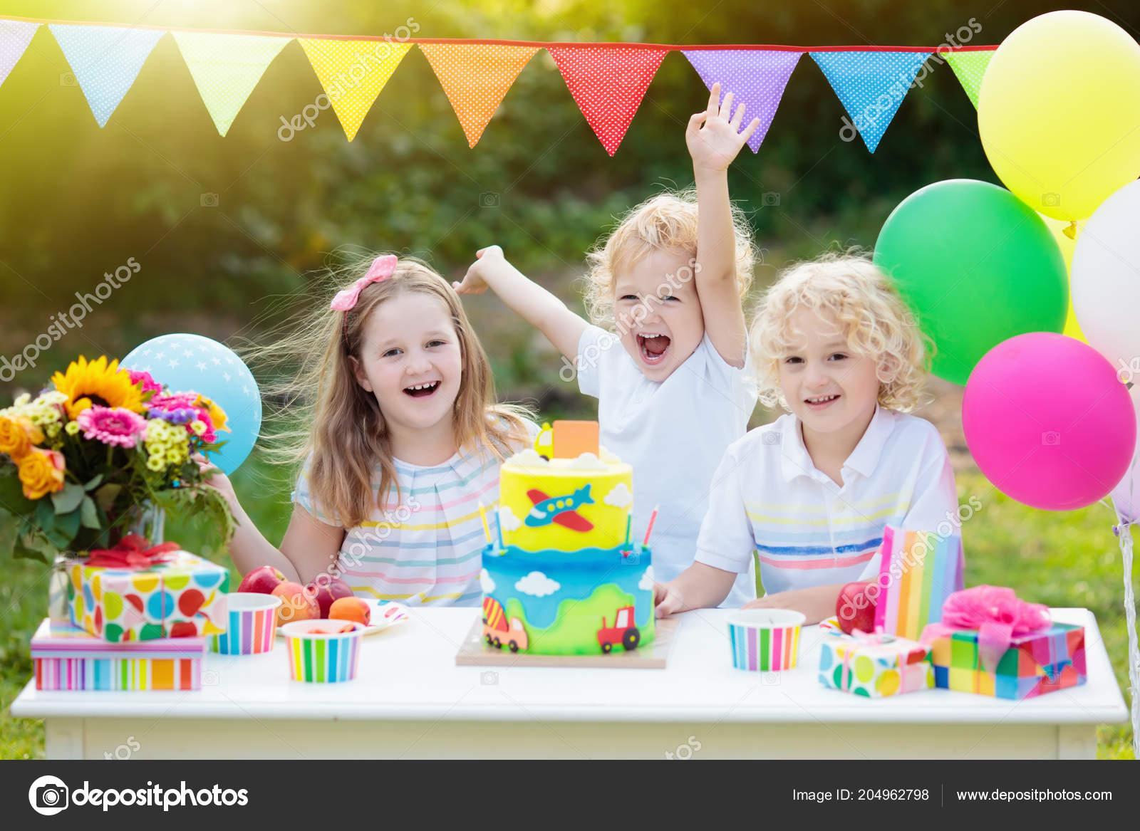 Children Blow Candles Birthday Cake Kids Party Decoration Food Boy