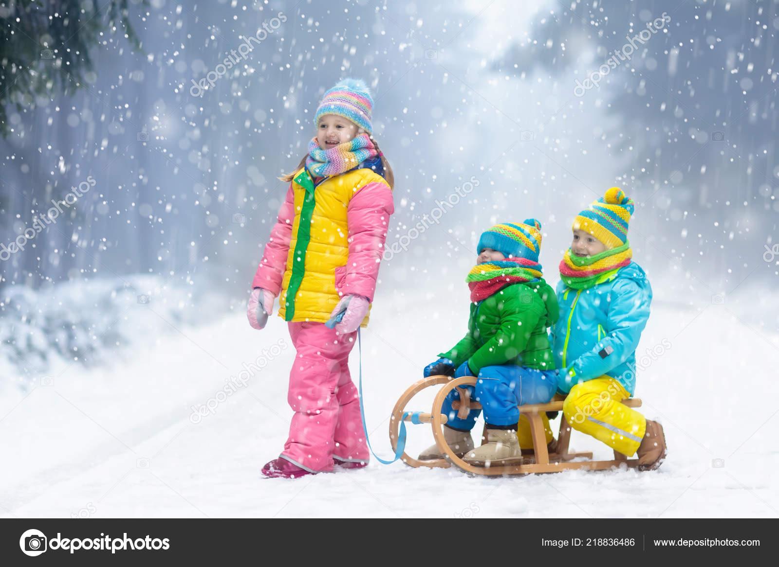 Christmas Vacation Sled.Little Girl Boy Enjoying Sleigh Ride Child Sledding Toddler