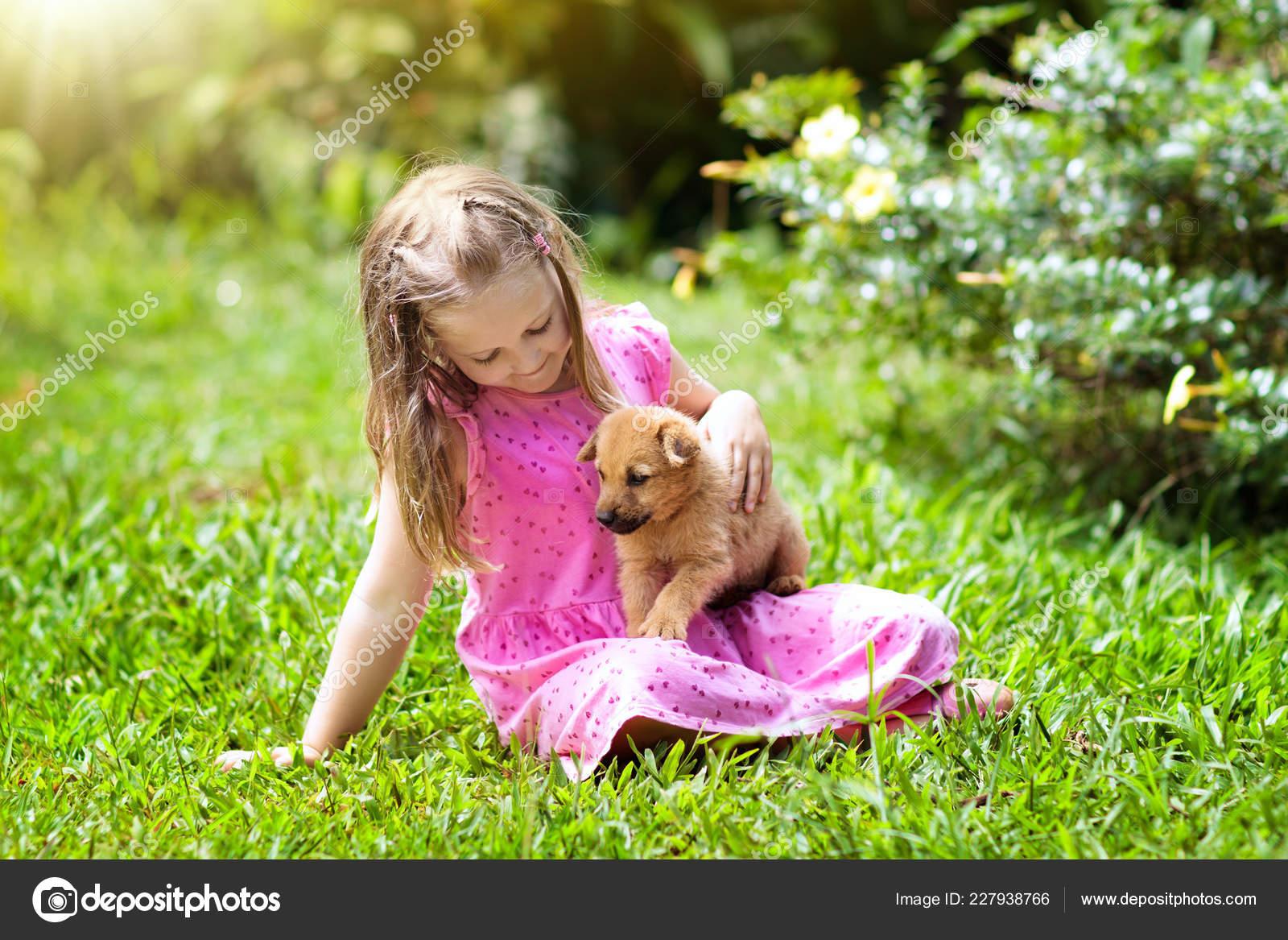 Kinder Spielen Mit Niedlichen Welpen Kinder Und Baby Hunde Spielen