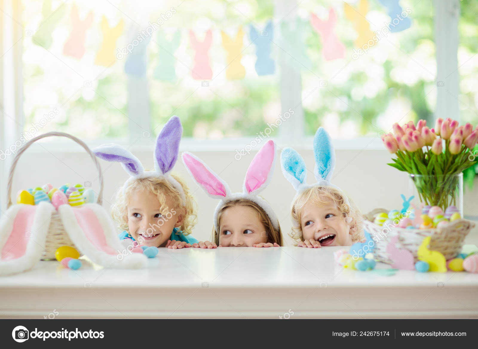Kids Dyeing Easter Eggs Children Bunny Ears Dye Colorful Egg