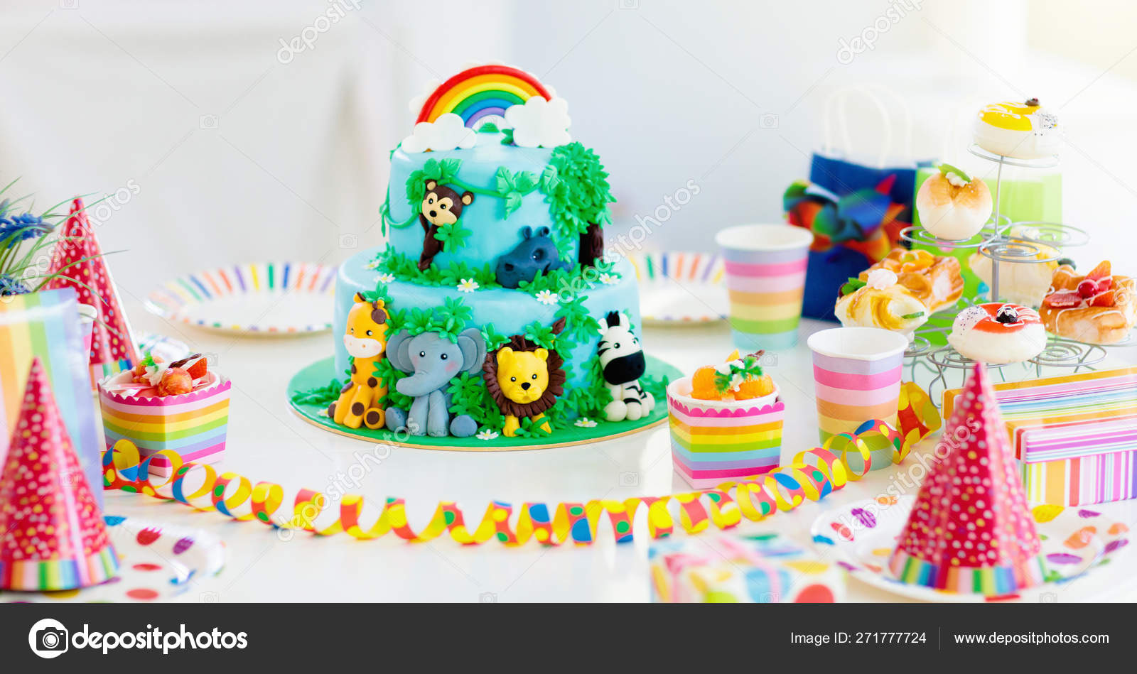 Marvelous Kids Birthday Cake Child Jungle Theme Party Stock Photo Personalised Birthday Cards Sponlily Jamesorg