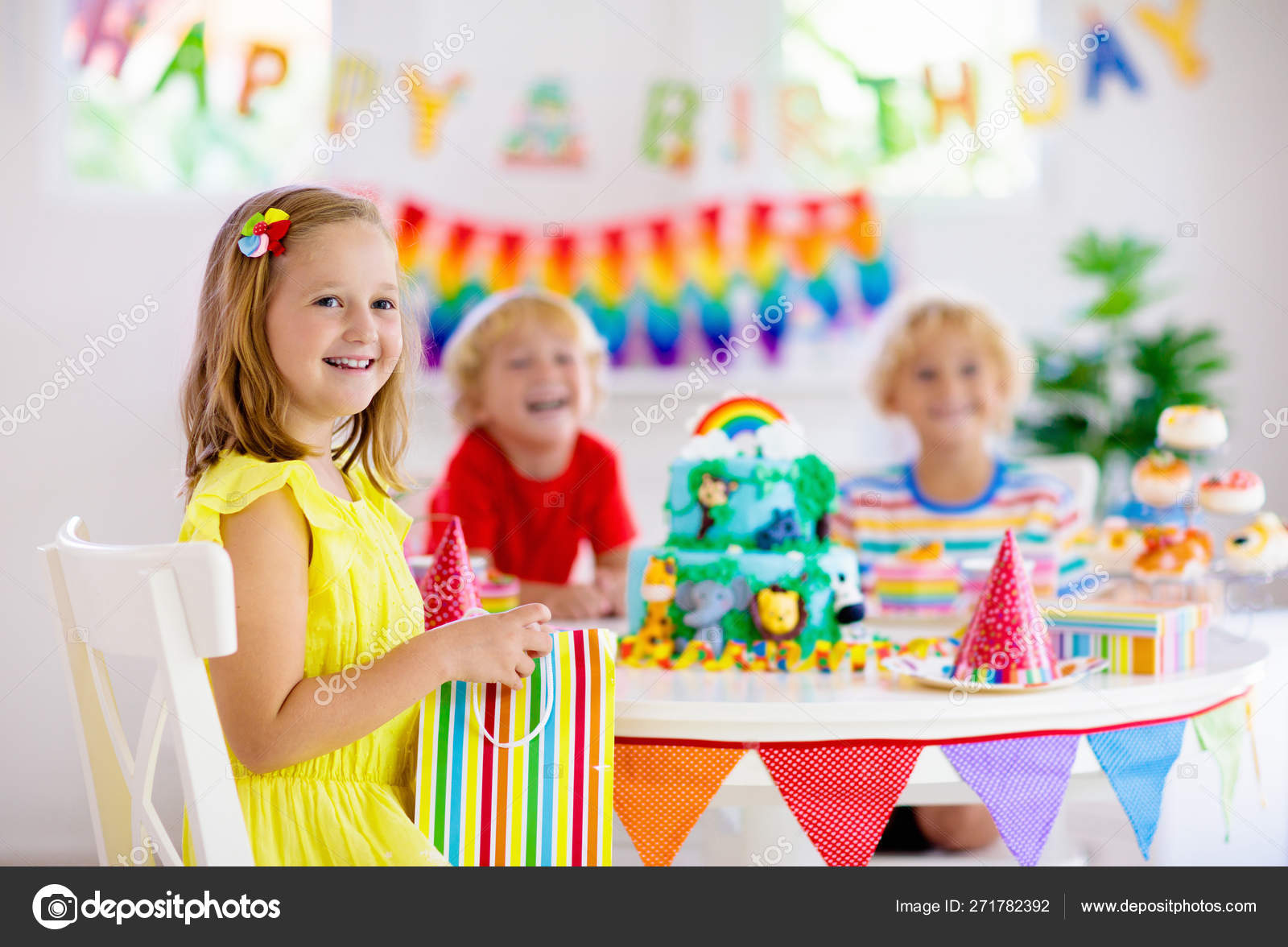 Terrific Child Birthday Party Kids Blow Candle On Cake Stock Photo Personalised Birthday Cards Sponlily Jamesorg