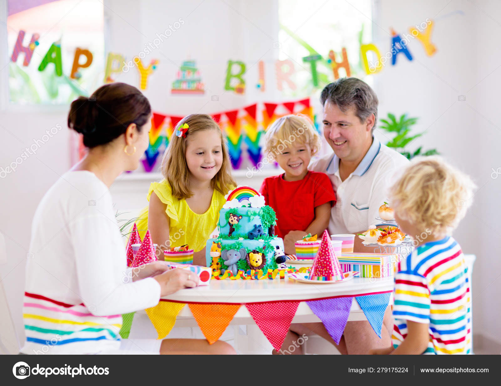 Amazing Child Birthday Party Cake Family With Kids Stock Photo Personalised Birthday Cards Sponlily Jamesorg