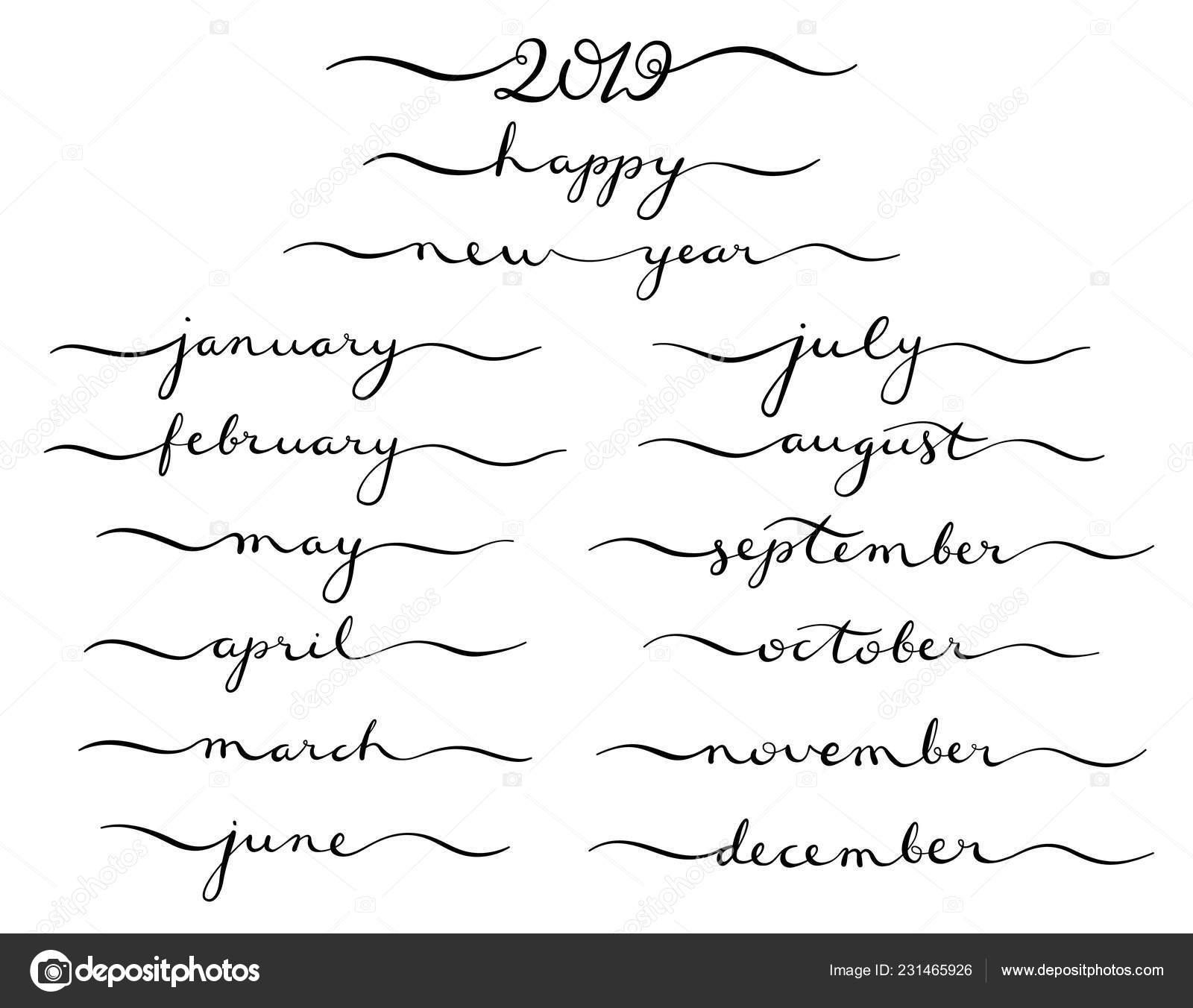 Set Calligrafico Di Mesi Dellanno 2019 Dicembre Gennaio Febbraio