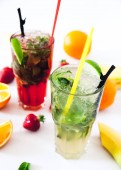Tradition Summer drink mojito with lime and mint,
