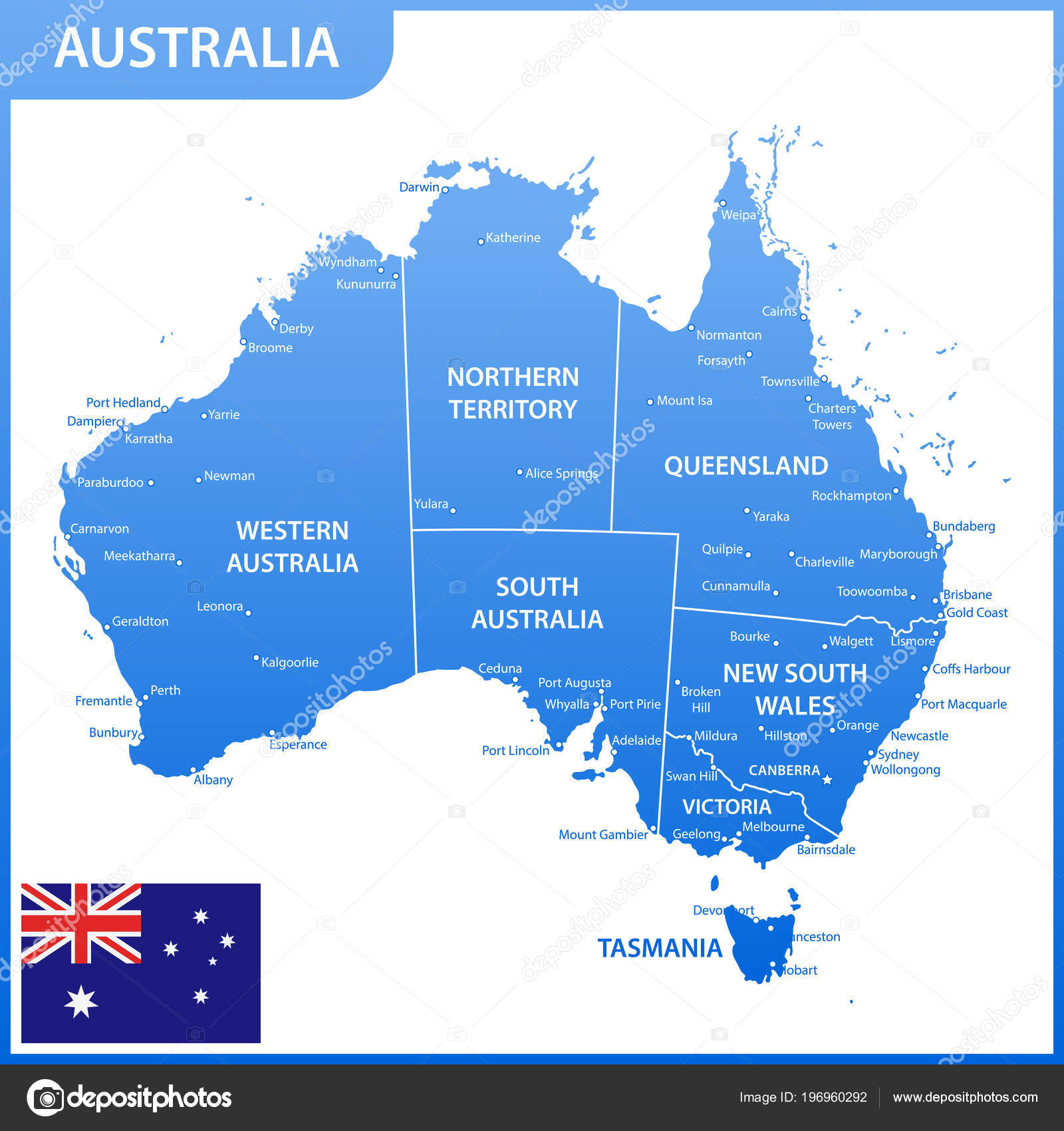 Map Of Australia With Capitals.Detailed Map Australia Regions States Cities Capitals National Flag