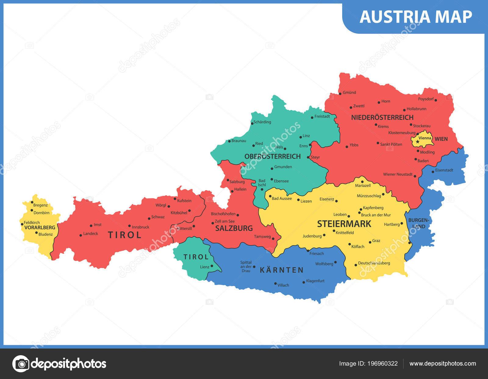 Mapa Mapa Rakouska Regiony