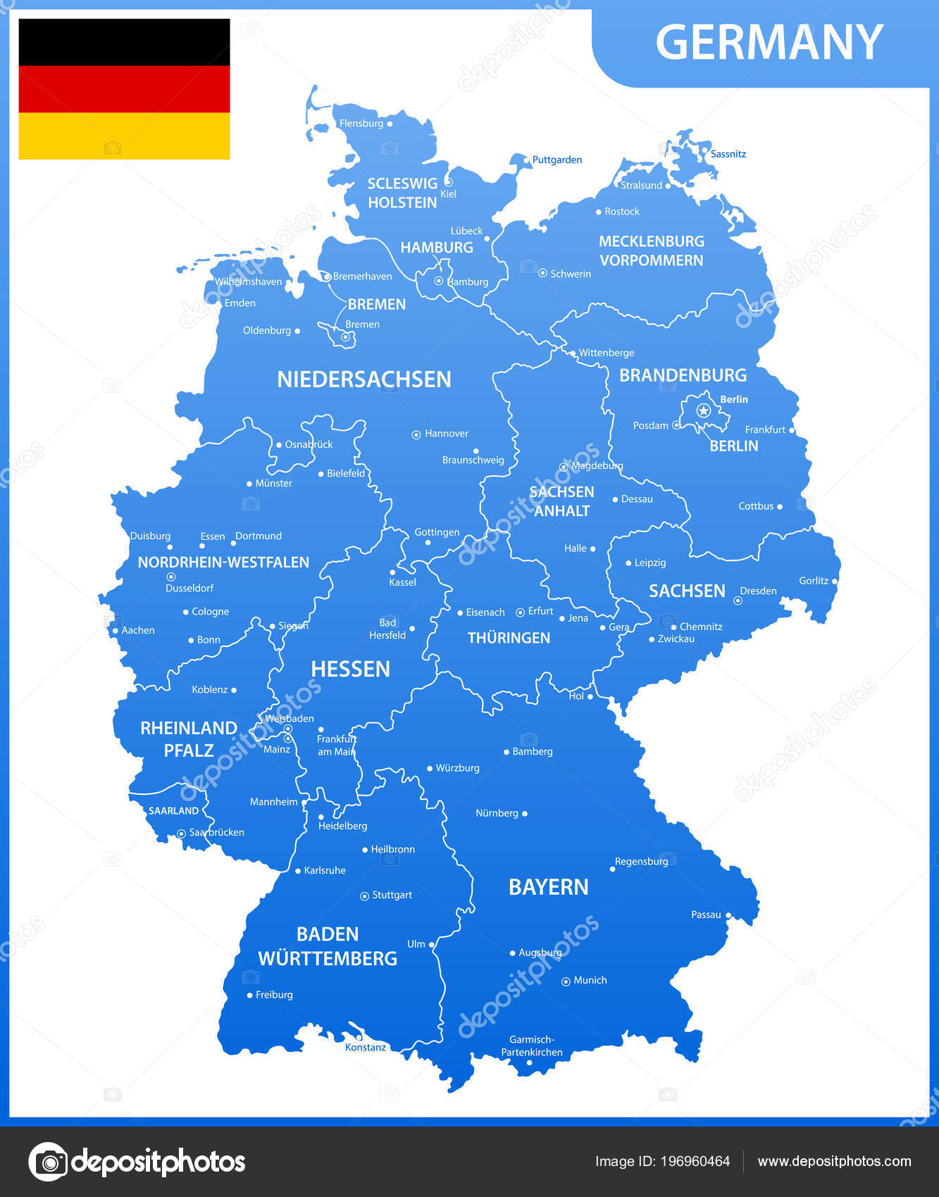 detailed map germany regions states cities capitals national flag stock vector