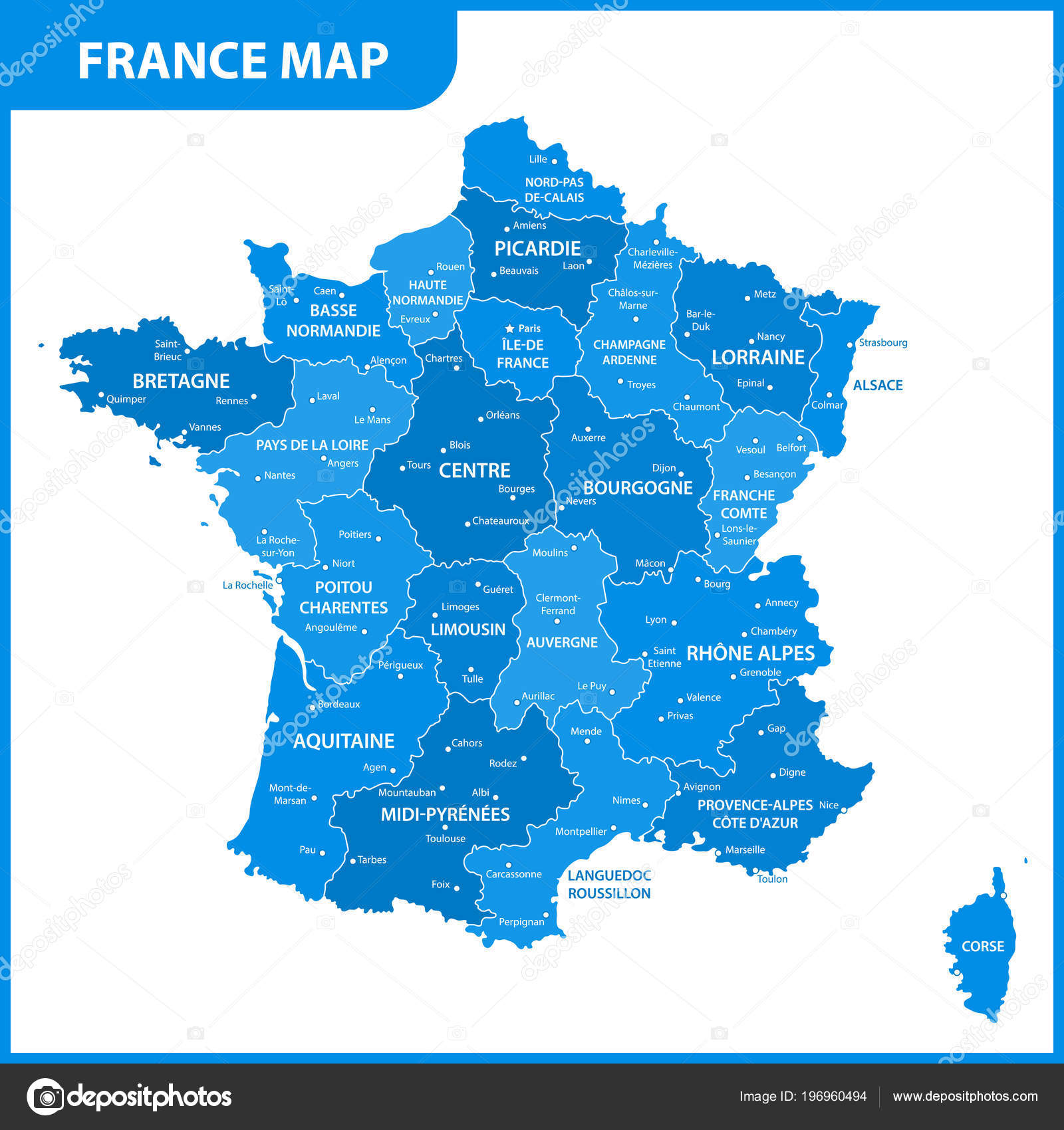 Map Of France Regions With Cities.Detailed Map France Regions States Cities Capital Stock Vector