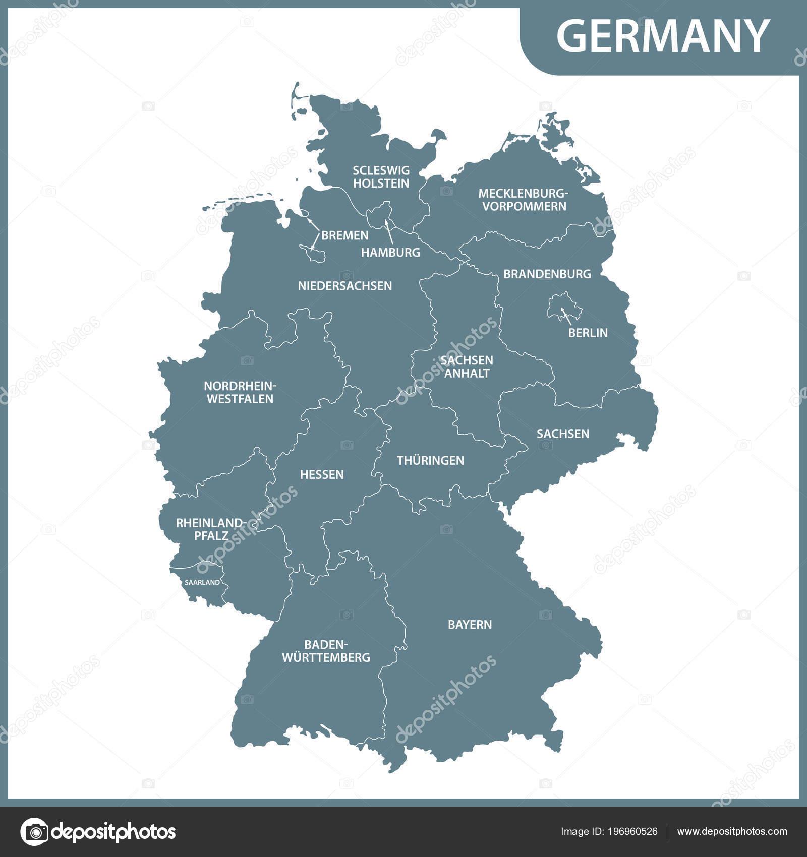 Detailed Map Germany Regions Stock Vector C Panya 196960526