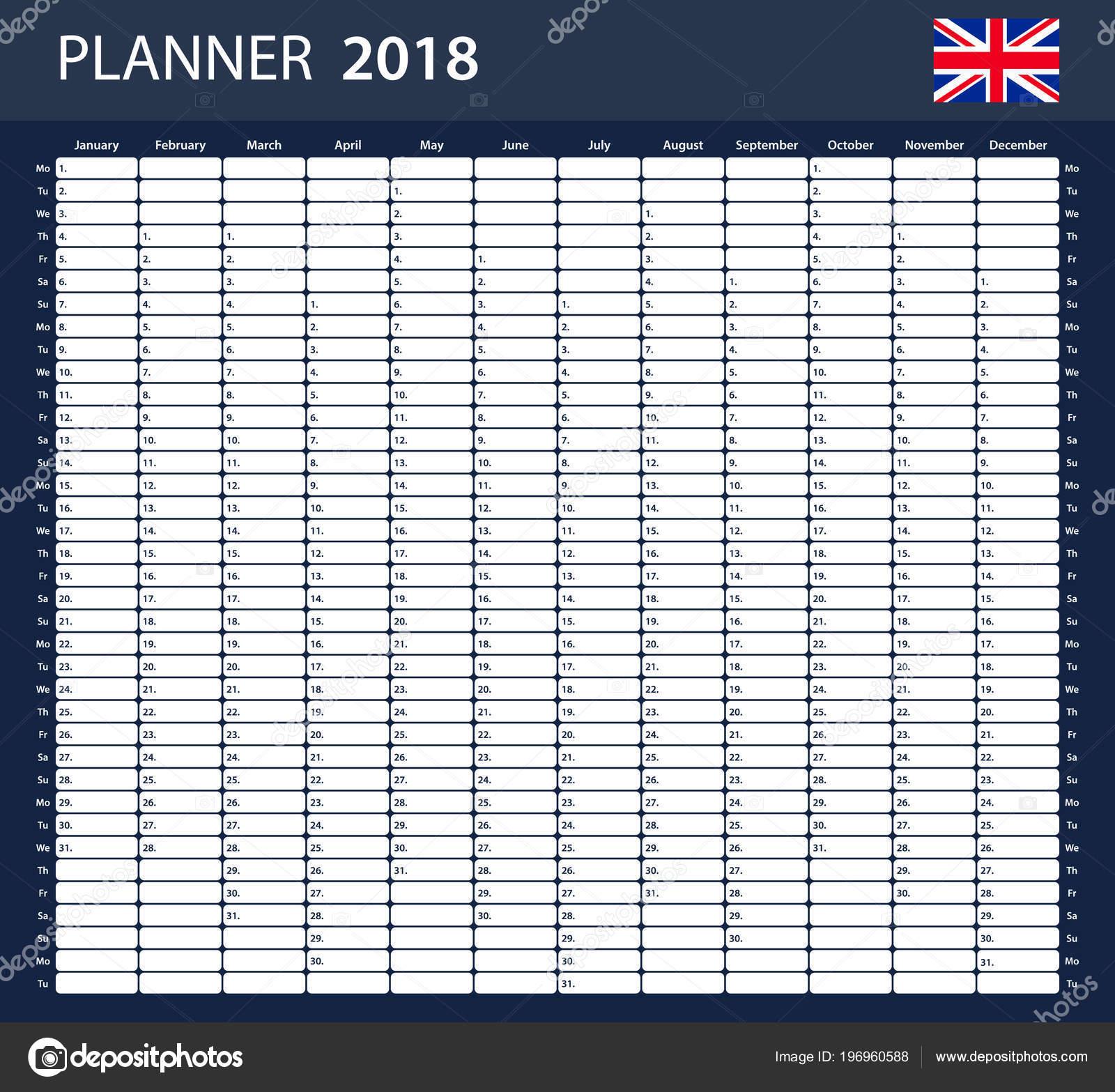 Planer Für 2018 Leer Englische Scheduler Agenda Oder Tagebuch ...
