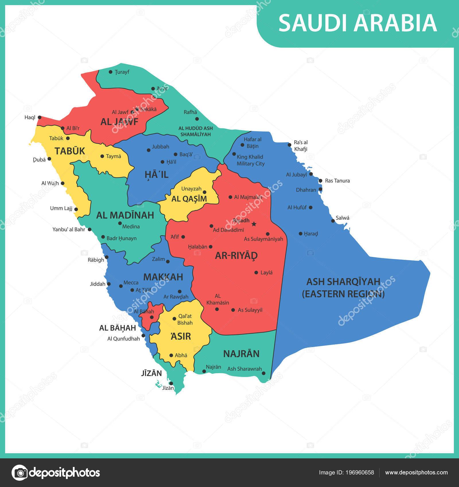 Detailed Map Saudi Arabia Regions States Cities Capitals
