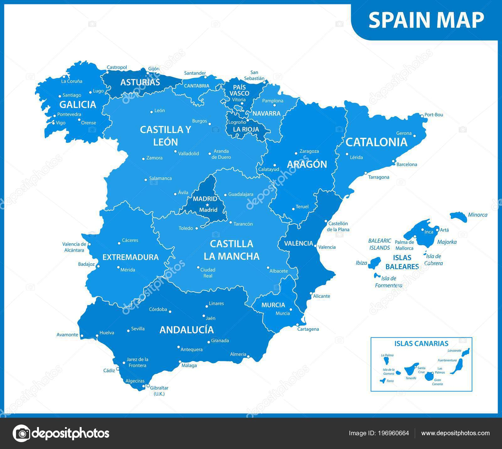 Detailed Map Spain Regions States Cities Capitals — Stock Vector ...