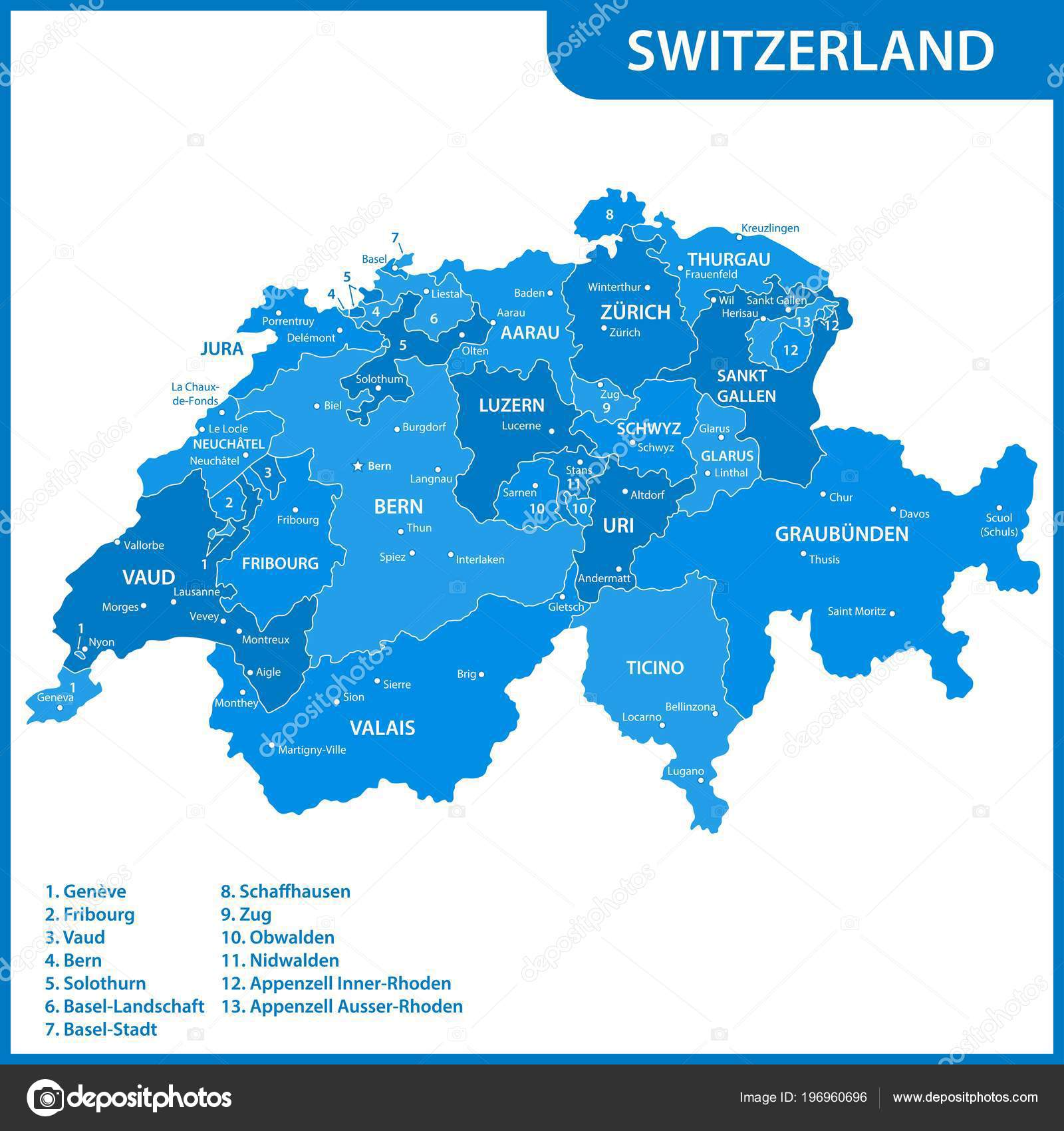Detailed Map Switzerland Regions States Cities Capitals — Stock ...