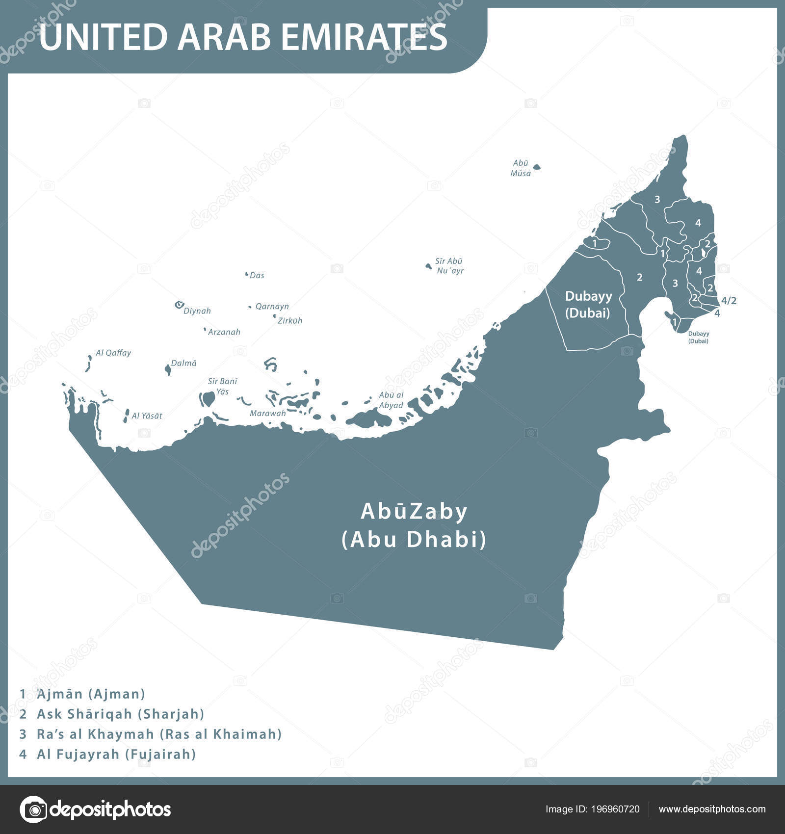Detailed Map Uae Regions United Arab Emirates — Stock Vector ...