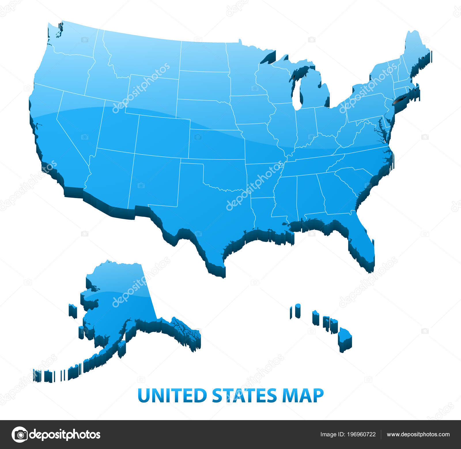 Detailed Map Of Usa.Highly Detailed Three Dimensional Map Usa Regions Border United