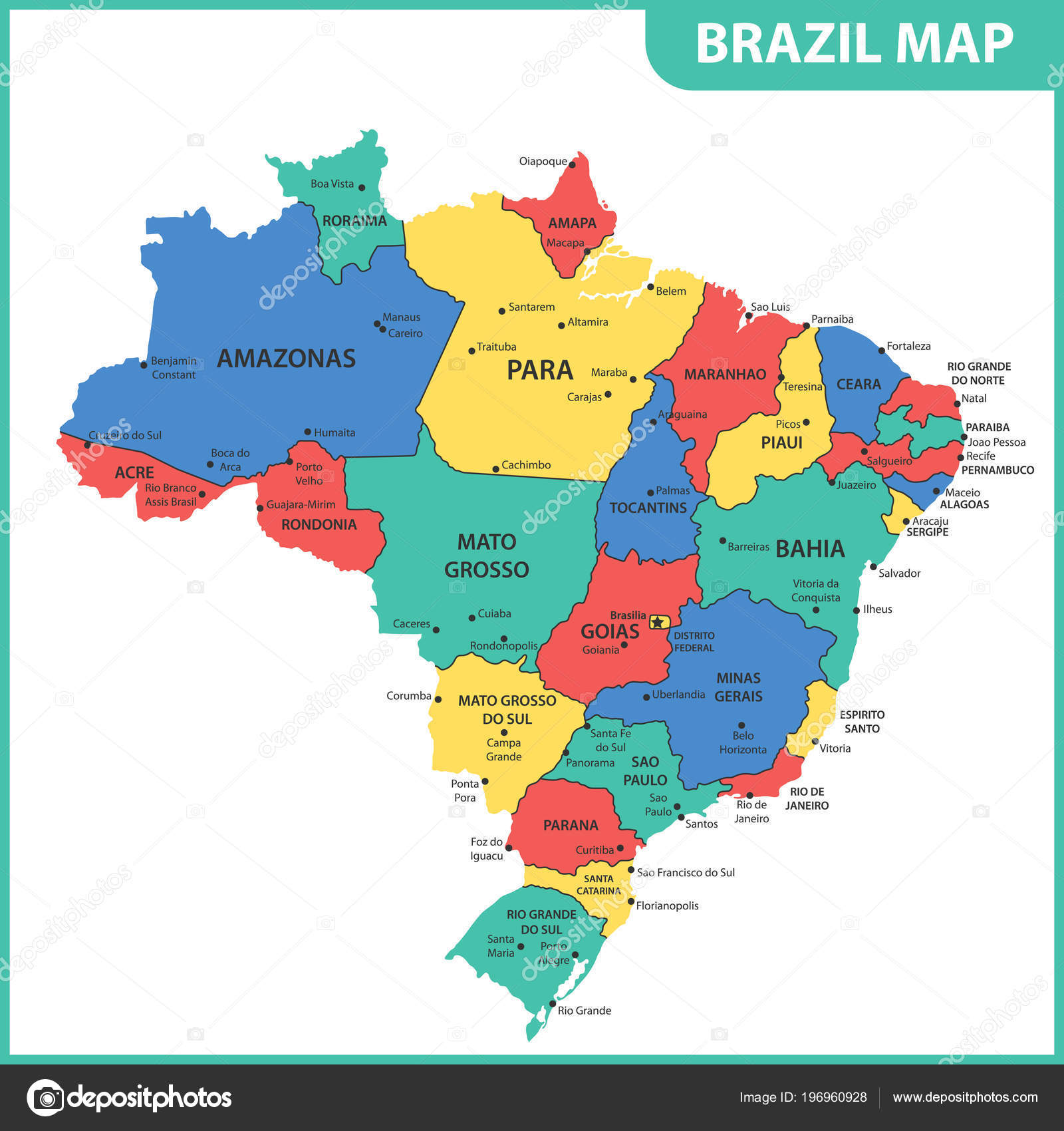 Detailed Map Brazil Regions States Cities Capitals — Stock Vector ...