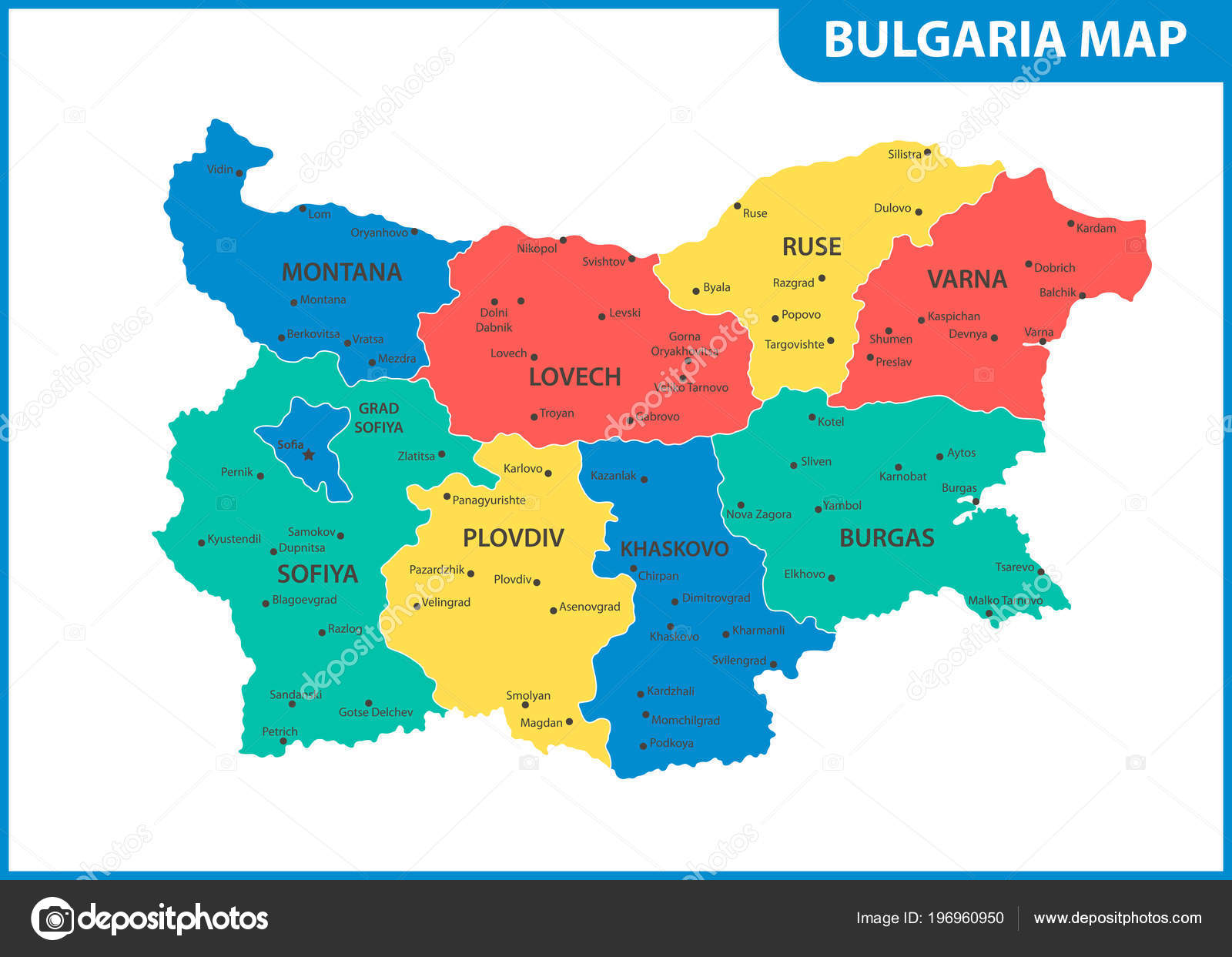 Bulgaria On Map Of World.Detailed Map Bulgaria Regions States Cities Capital Administrative